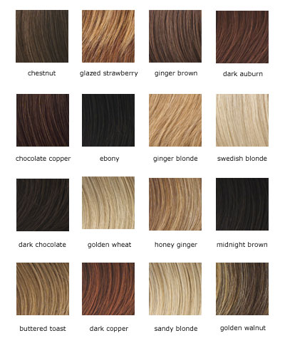 Below are two charts of hair colors for wigs:
